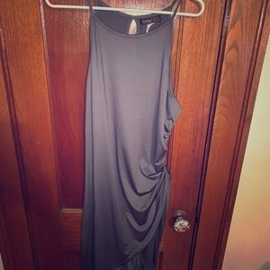 Grey ruched fitted dress